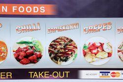 Chilli, zapiekanki, crepes, detail of picture menu, Himalayan Royal Cafe, Ridgewood, Queens