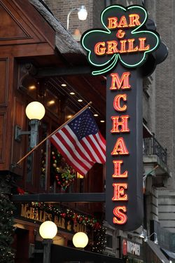 McHale's Bar & Grill with neon shamrock, West 51st St, Manhattan