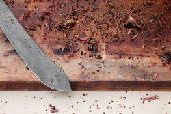 Cutting board for smoked pastrami, Ducks Eatery, Hester Street Fair, Hester Street, Manhattan