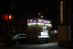 Halal street cart with LED crawls in Arabic and English, Mott Haven, Bronx