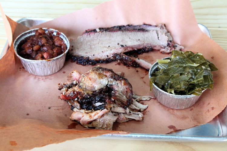 Baked beans, brisket, pulled pork, and collard greens, Red White & Que Smokehouse, Kearny, New Jersey