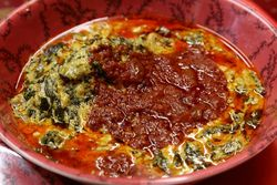 Egusi with fish, Bognan International, Morrisania, Bronx