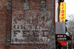 Flour, hay, grain & feed at wholesale & retail, surviving signage, West 128th St, Manhattan