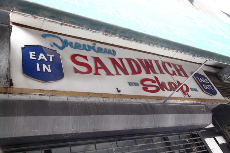 Preview Sandwich Shop, eat in, take out, surviving signage, West 53rd St, Manhattan