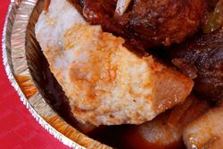 Yam wetted with chicken gravy, Bebe Fritay, East Flatbush, Brooklyn