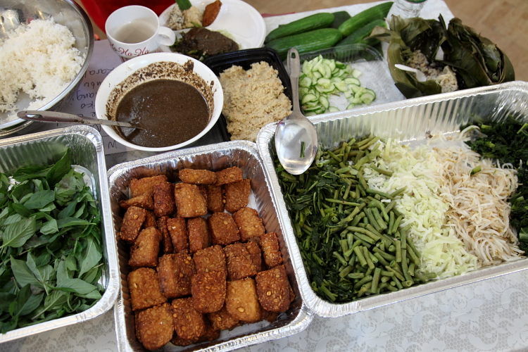 Fixings for pecel ndeso, Indonesian bazaar, First Presbyterian Church of Forest Hills, Queens