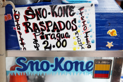 Shaved ice cart with frozen Sno-Kone lettering and handwritten diablito with devil-horns D and devil-tail O, Newark, New Jersey