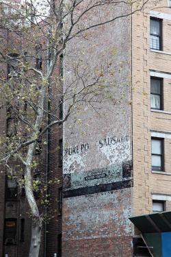 Pure po[rk] sausa[ge], surviving signage, Broadway, Manhattah