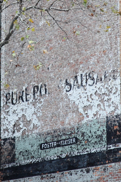 Pure po[rk] sausa[ge], surviving signage, Broadway, Manhattan
