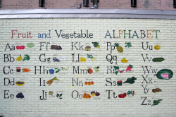 Fruit and vegetable alphabet, playground of PS 145 (The Bloomingdale School), West 104th St, Manhattan