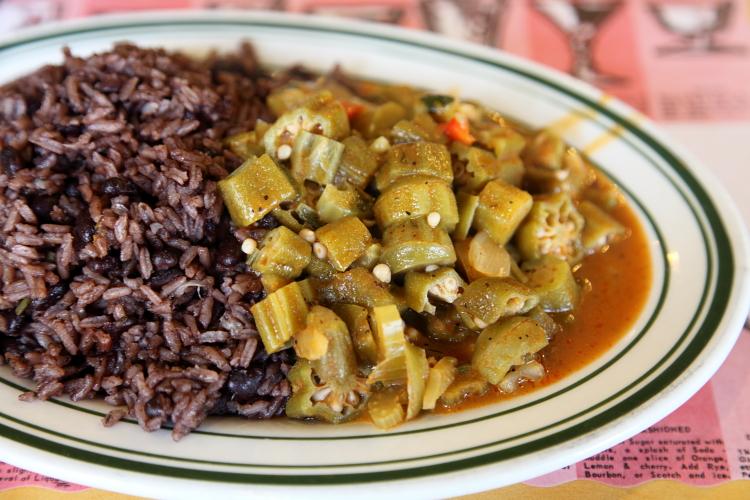 Okra with rice and black beans, Flor de Broadway, Manhattan