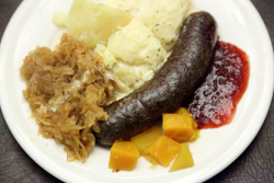 Verivorst (blood sausage) platter, Estonian Christmas Bazaar, New York Estonian House, East 34th St, Manhattan
