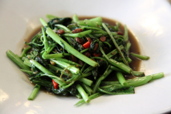 Pad pakbung, stir-fried morning glory, Pam Real Thai Food, West 49th St, Manhattan