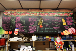 Menu board, Sal, Kris & Charlie's Deli, Astoria, Queens