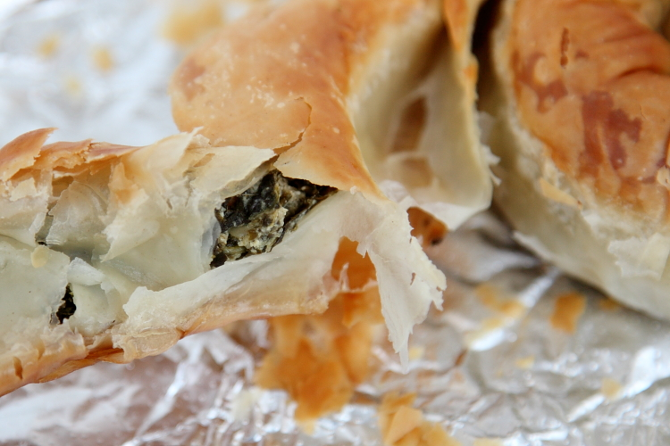 Spinach swirl (tearaway view), F&S Pies, Whitestone, Queens