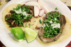 Beef head and beef tongue tacos al vapor, Las Conchitas Bakery, Sunset Park, Brooklyn