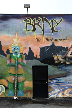 Mural (detail of yaksha incorporating drainpipe), BKNY Thai Restaurant, Bayside, Queens