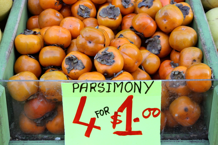 Parsimony (persimmons), Bangladeshi discount produce, Jackson Heights, Queens