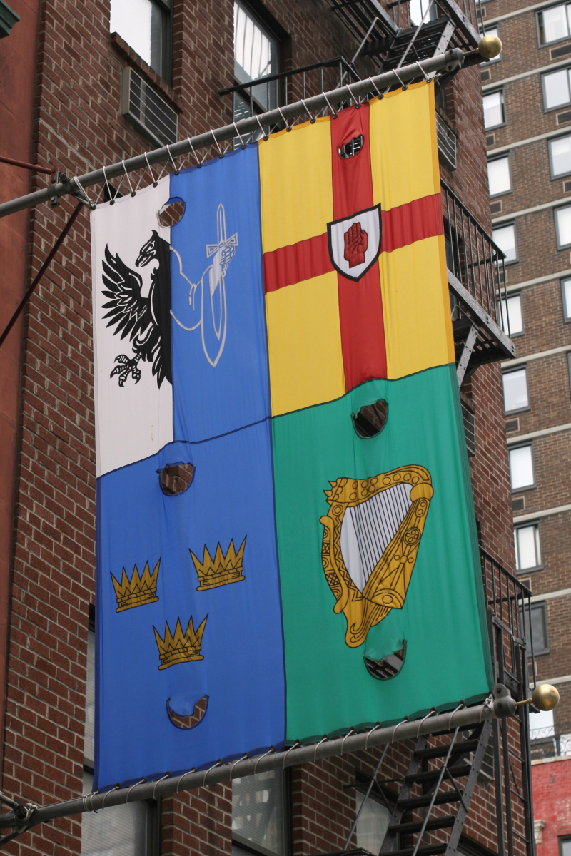 Banner combining the four Irish provincial flags  outside Kinsale Tavern  Second Avenue  New York