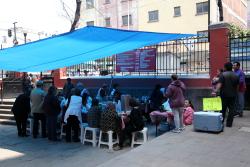 Courtyard food stall  Parroquia de los Santos Cosme y Damian  Mexico City