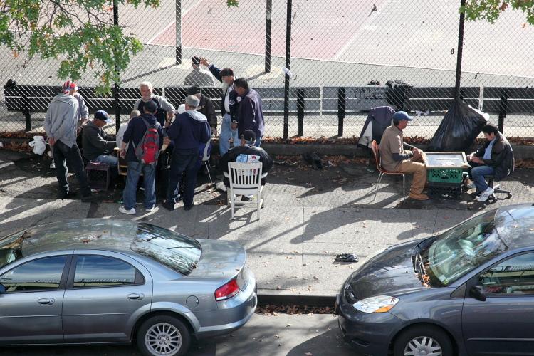 Two games of dominoes  Williamsburg  Brooklyn