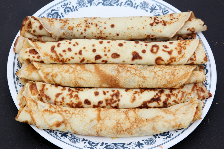 Clatite (jam-filled crepes)  Romanian picnic at St Andrew's Orthodox Church  Jamaica  Queens