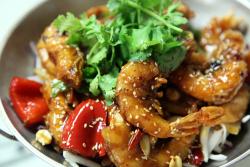 Jumbo shrimp in hot wok  Ling Long Xuan Restaurant  Flushing  Queens