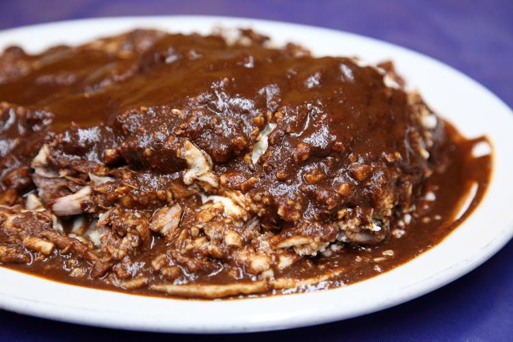 Mole negro enchiladas  Caldos de Gallina Luis  Mexico City