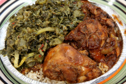 Stew chicken and callaloo  Soo Jamaica Caribbean Restaurant  Wakefield  Bronx