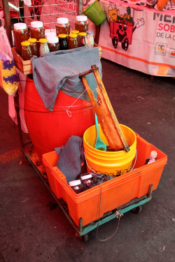 Honey and tepache cart  Tianguis Sullivan  Mexico City