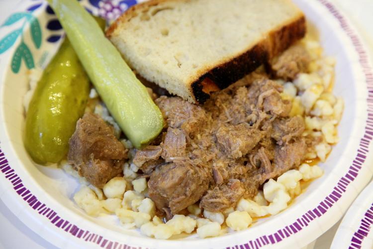 Disznoporkolt (pork stew  over nokedli)  Hungarian Heritage Festival  Magyar Haz (Hungarian House)  East 82nd St  Manhattan