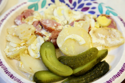 Rakott krumpli (potato casserole)  Hungarian Heritage Festival  Magyar Haz (Hungarian House)  East 82nd St  Manhattan