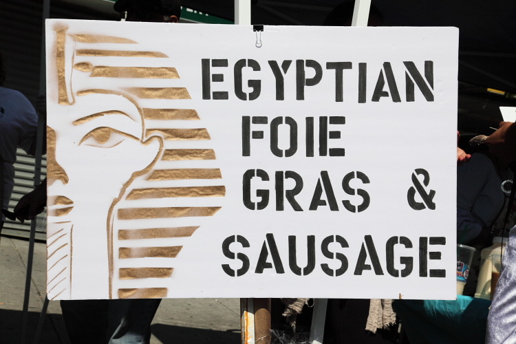 Egyptian foie gras & sausage  hand-drawn sign  St George Coptic Orthodox Church Street Festival  Dyker Heights  Brooklyn