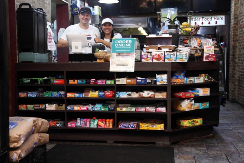 Eric and Emorn Henshaw (behind the counter at Bricktown Bagels)  Khao Man Gai NY  Long Island City  Queens (Culinary Backstreets)