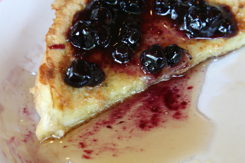 Texas French toast with blueberry sauce at The Olde Blue Bird Inn  Easton  Connecticut