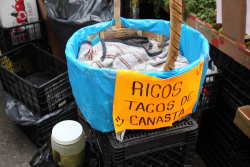 Ricos tacos de canasta  handwritten sign on basket (canasta)  Elmhurst  Queens