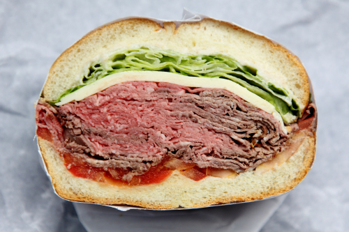 Mr B (roast beef  white American cheese  lettuce  tomato  horseradish)  Manor Delicatessen  Woodhaven  Queens