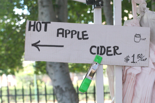 Hot apple cider  hand-drawn sign  Red Jacket Orchards  McCarren Greenmarket  Williamsburg  Brooklyn