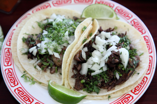 Tacos de barbacoa accompanying consome de chivo  Mexico en la Piel  Sunset Park  Brooklyn