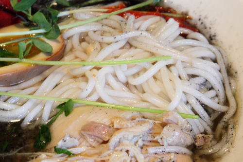 Grandma chicken mixian (detail of mixian noodles)  Little Tong Noodle Shop  First Ave  Manhattan