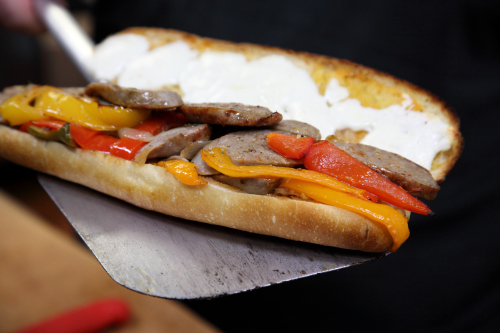 Sausage-and-peppers sandwich (Wednesday special  in the making)  Charlie's Sandwich Shop  Bay Ridge  Brooklyn