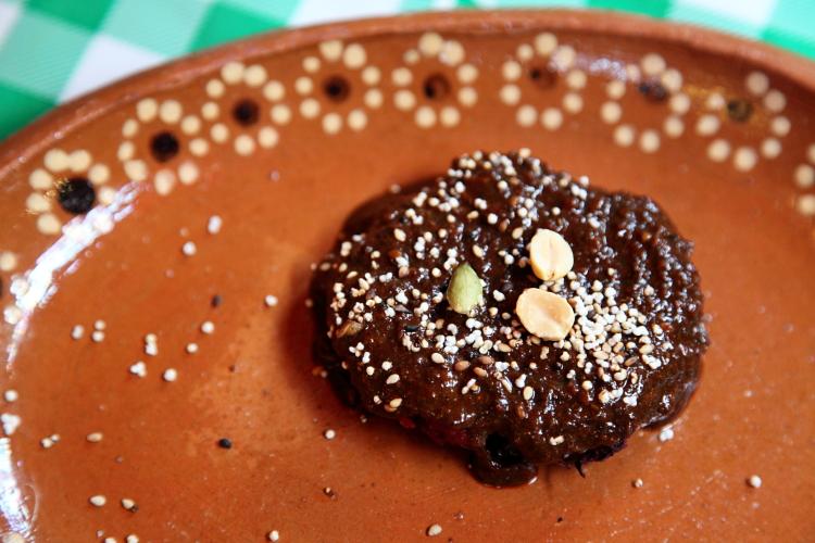 Tlaltequeada de jamaica (as served  with mole de amaranto)  Nonantzin  Mercado de Tepoztlan  Morelos  Mexico