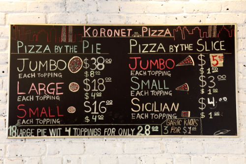 Hand-drawn menu board  Koronet Pizza  Broadway  Manhattan