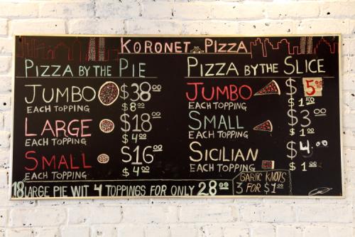 Hand-drawn menu board  Koronet Pizza  Broadway  Manhattan