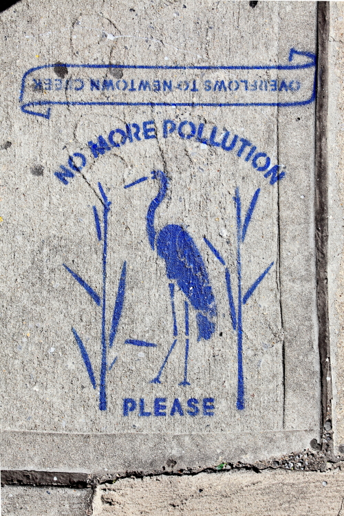 No more pollution please  overflows to Newtown Creek  storm-drain signage with shore bird  Sunnyside  Queens