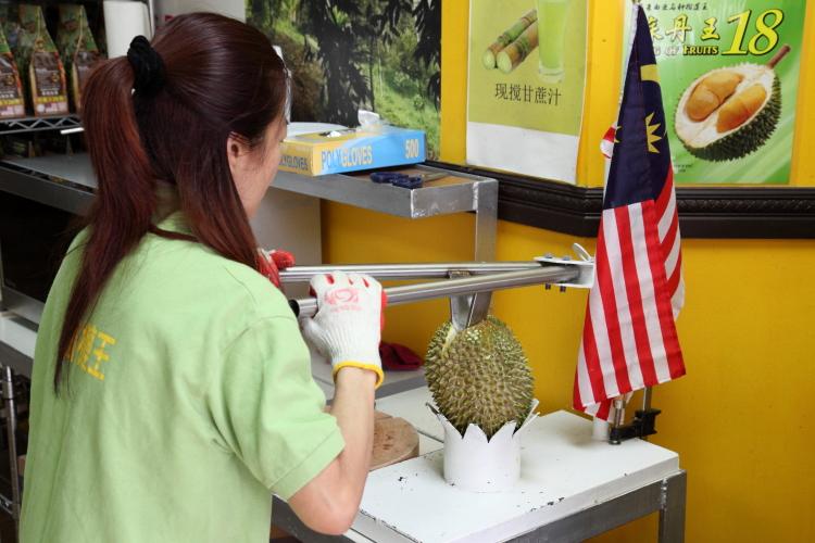 Splitting a musang king durian  MK Durian Group  Sunset Park  Brooklyn