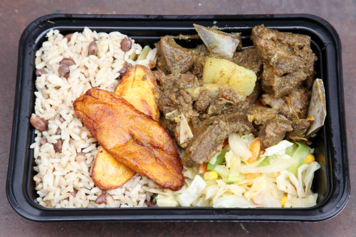 Rice and peas  plantains  steamed vegetables  and Kittitian curry goat  A Taste of Sugar  Ninth Avenue International Food Festival  Ninth Ave  Manhattan