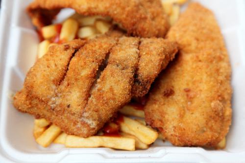 Fried bluefish (plus whiting and potatoes)  Longwood Fish Market  Woodstock  Bronx
