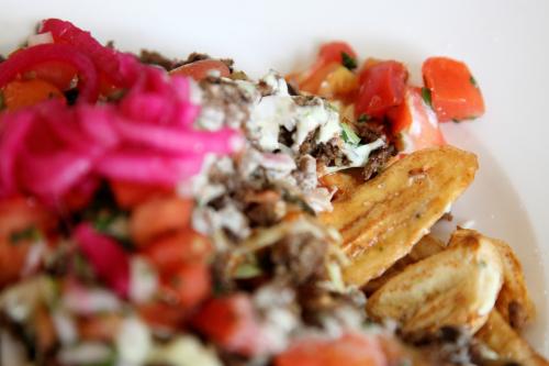 Tajadas con carne molida  fried green plantain strips with ground beef  Seis Vecinos  Woodstock  Bronx