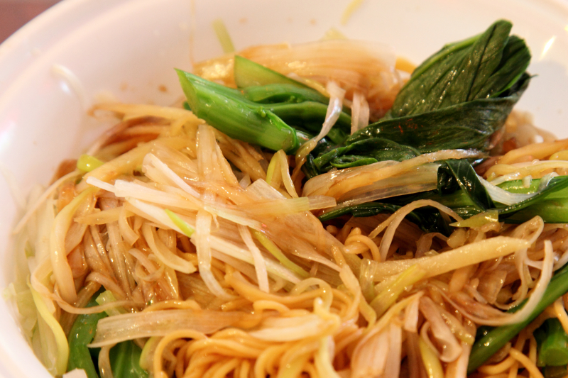 Scallion and ginger lo mein  Hong Kong style (mixed)  Sifu Chio (aka Prince Noodle and Cafe)  Flushing  Queens